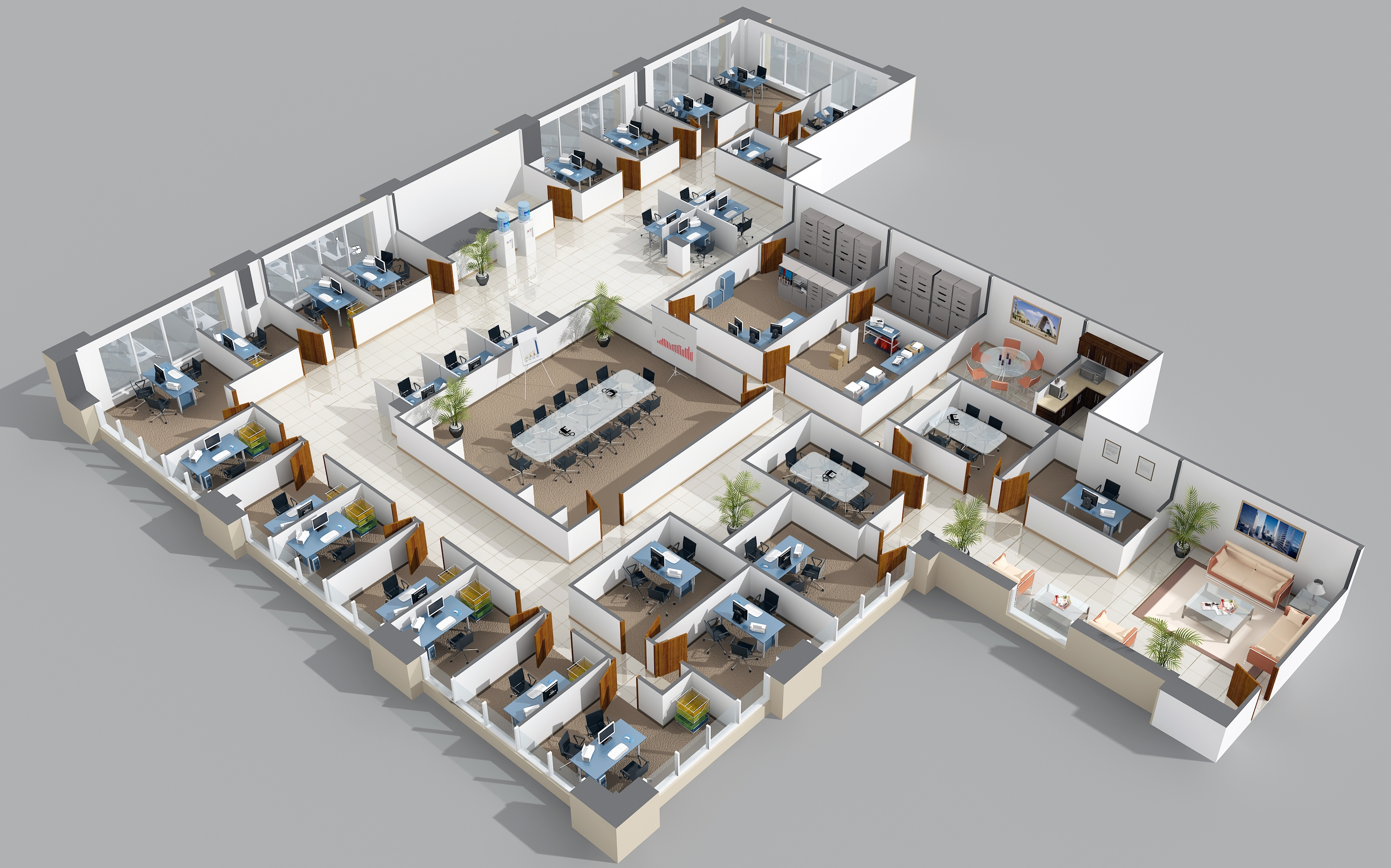 Unique 3d Office Floor Plan Plans N Intended Inspiration Decorating